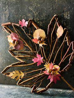 art decor, craft, stick, autumn leaves, gift ideas, decorating ideas, dress up, fall decorating, wreath