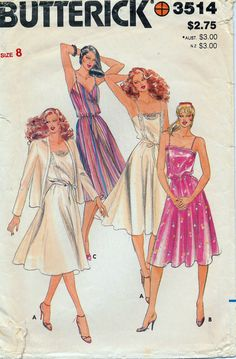 Butterick 3514 Women's Sundress Pattern and Cardigan Jacket Misses' Sz 8 Bust 31-1/2""