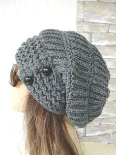 Knit Hat Slouchy Beanie Women hat Slouchy Beanie hat Slouchy Hat Chunky Knit Hat Winter hat Womens Beanie Charcoal Gray Fashion