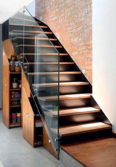 Modern open stair look . but with under stairs storage! The black treads almost disappear. Love the combination of wood, glass and metal Escalier Design, Modern Stairs, Stair Storage, Basement Storage, Hidden Storage, Shoe Storage, Storage Ideas, Interior Stairs, House Stairs