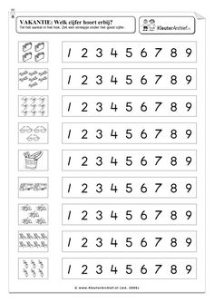 rekenen groep 1 2 werkbladen - Google zoeken Kindergarten Math Worksheets, Preschool Learning Activities, Worksheets For Kids, Math Resources, Preschool Activities, Teaching Kids, Learning Numbers, Math For Kids, Kids Education