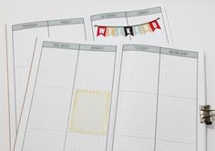 Week on 4 Pages Vertical Weekly Planner Grid Printable Download {Field Notes Size} Traveler's Notebook Insert Booklet