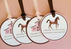 Girl Horse / Barn Favor Tags Birthday Party by LittleMavens, $10.80