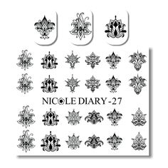 0.66$  Buy now - http://ali1i4.shopchina.info/go.php?t=32728376585 - NICOLE DIARY Nail Art Transfer Sticker Black White Flowers Design Water Decals Manicure Decoration 0.66$ #aliexpresschina