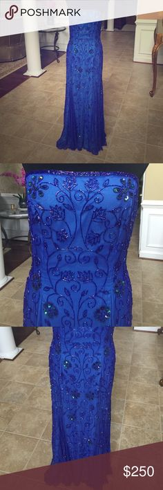 Cache sequin embroidered blue evening ball gown Cache sequin flower embroidered cerulean bright blue strapless evening ball gown, prom wedding apparel, mermaid style, sheer overlay with sequins. Silk lining, polyester shell. Perfect used condition, worn once Cache Dresses Strapless