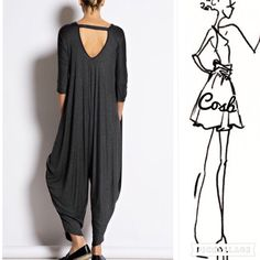 Wine color Jumper w/Sexy Back Cute loose fitting jumper. Jumper is the baggy style having a lower open back w/strap like across upper back. Has two side pockets. Very stylish & comfy. Wine Color Only. Cosb Pants Jumpsuits & Rompers