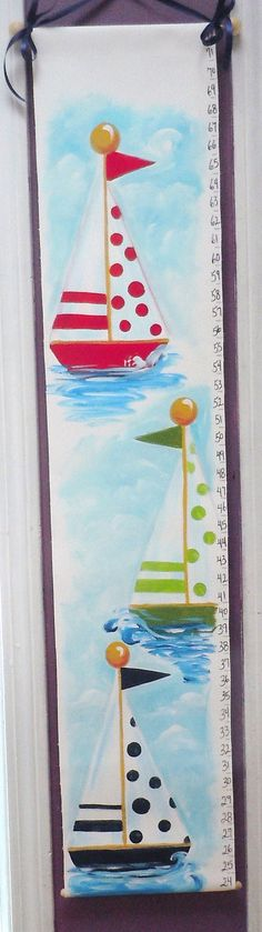 Nautical nursery growth chart personalized sailboats hand painted canvas ships red blue green