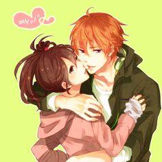 natsume x emma Anime People, Anime Guys, Anime Harem, Hinata, Kamigami No Asobi, Brothers Conflict, Romantic Anime Couples, Couple Cartoon, Twin Brothers