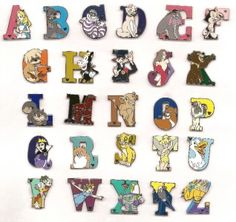 Details about 26 ALPHABET CHARACTER SET Disney Hidden Mickey Pins