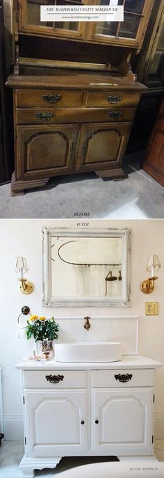 DIY Bathroom Vanity Makeover from a $40 Thrift Store Hutch.