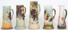 5 Large Limoges Porcelain Tankards