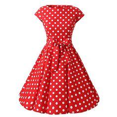 Hülsen+der+Frauen+rot,+schwarz,+lila+gepunkteten+Kleid,+Vintage-Flügelärmel+50er+Rockabilly+Kleid+schwingen+–+EUR+€+19.47