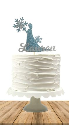Frozen Inspired Cake Topper, Elsa Birthday, Personalized Custom Name, Princess, Magical, Disney Inspired