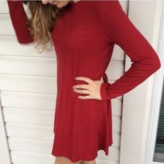 Red long sleeve casual shirt dress NEW Red long sleeve casual shirt dress pullover style! Brand new in packaging! Cotton fabric is very stretchy! SIZES medium AND LARGE AVAILABLE comment with size and I'll make a new listing Boutique Dresses Long Sleeve