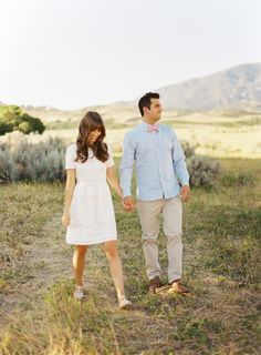 Engagement outfits that are a good mix between casual and dressy. I especially love her dress and his bow tie!