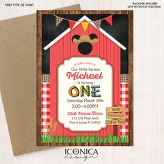 Clubhouse Farm Party Invite Farmer Mickey / Minnie inspired Birthday Invitation || Boys and Girls || Printed or Printable File Free Shipping