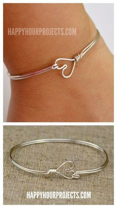 DIY Wire Heart Bracelet Tutorial from Happy Hour Projects. If this is your first wire DIY, I recommend practicing on cheap wire first. For wire DIY jewelry go here: truebluemeandyou.tumblr.com/tagged/wire and for heart jewelry and hearts of all kinds go here: truebluemeandyou.tumblr.com/tagged/hearts If you'd rather make a DIY Wire Heart Ring, Ive posted 9 DIY Wire Heart Rings here.