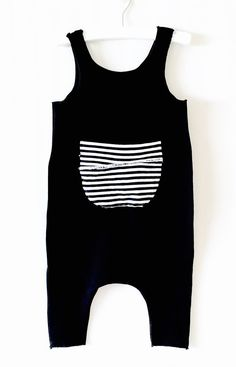 Items similar to baby harem romper, black romper, cotton black romper with front pocket striped patch, baby boy or girl romper, black and white striped on etsy Black Romper, Baby Boy Or Girl, Baby Kids, Baby Baby, Baby Boy Romper, Baby Boy Fashion, Kids Fashion, Baby Boy Outfits, Kids Outfits