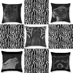 """These throw pillows were created with my pastel and charcoal drawings.  Available in the """"The King of the Beasts"""", """"Greeting the morning sun"""", """"The Hunt"""", """"The Howl"""" and """"Cheeky Little Guy"""". www.tracey-everington.pixels.com  #lion #wolf #tiger #racoon #drawing #pastel #blackandwhite #homedecor #throwpillow #throwpillows #cushion #wildanimals #interiordesign #style #visualcrush #animals #bedroom #loungeroom #art #onlineshopping"""