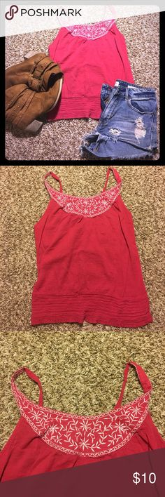 Wet Seal Pink tank **SHIRT ONLY** Shorter tank, very lightweight. It is a little see through. Just a warning. But very cute, perfect for summer! Wet Seal Tops Tank Tops