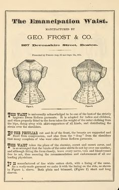 Dress Reform 1878.  Why stop there?  The reformation is incomplete.  If men were expected to wear punishing shoes and bras, the practice would stop tomorrow.  Women need to take control of their own health and well being.