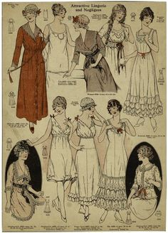 kittyinva:    happygolovely:     Lingerie and negligees from 1915.  Frilly, lacy, girly confections!