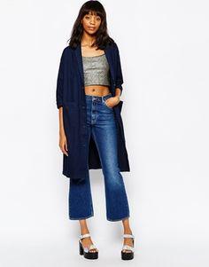 Monki - Veste longue en jean