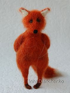Knitted Red Fox Soft Toy made to order by InnaDanchenkoArt