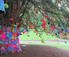 Kaffe Fasset yarn bombed tree at the American Museum, Bath, Jessie Lilac blog
