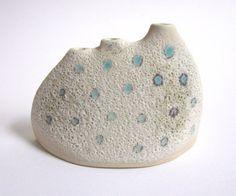 blue polka dots design with crater glaze vase by ECHOofNATURE, $49.00