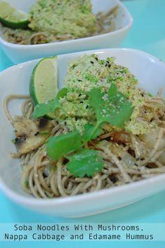 Soba Noodles with Mushrooms, Nappa Cabbage and Edamame Hummus / Vegetarian