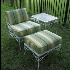 3 Piece Vintage Set With Custom Cushions Metal Patio Chairs Chair