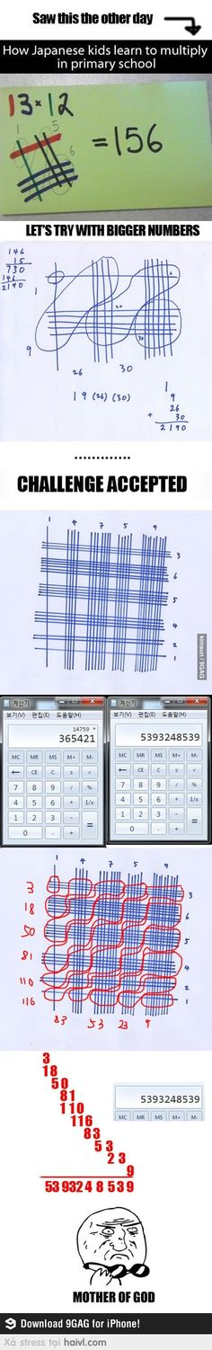 Funny pictures about Clever Japanese Math. Oh, and cool pics about Clever Japanese Math. Also, Clever Japanese Math photos. Japanese Math, Japanese School, Multiplication Tricks, Multiplication Tables, E Mc2, The More You Know, Teaching Math, Maths, Primary School