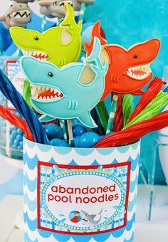 Wet n Wild Shark themed party via Kara's Party Ideas KarasPartyIdeas.com Cake, printables, invitation, favors, cupcakes, supplies, and more! #sharkparty #sharkcake (8)