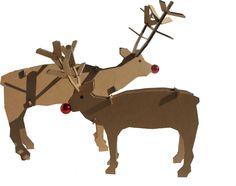 DIY de renos de cartón. Perfectos para escaparates navideños, y también decoración navideña del hogar