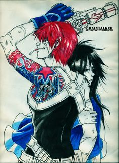 I've seen so many men with tattooed arms in the past weeks that this art was almost obligatory. Outlaw Star is a fantastic show, give it a try when you are bored. Gene Starwind is probably the most ridiculously stupid unbelievably hot redhaired womanizer I've seen in anime. Did I mention he's ridiculous. Melfina's hair ruled my days.