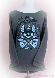 Night Creature Creepy Cute Bat Graphic 3/4 Sleeve Wideneck Sweatshirt Pastel Goth Fairy Kei