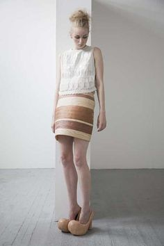 wood skirt by CSM grad Kenji Kawasumi Third Rail, Knock On Wood, Wood Laminate, Wood Texture, Things To Think About, Style Inspiration, Handmade Design, Wood Grain, How To Wear