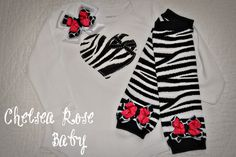 Baby girl Onesie, baby girl hairbow, baby girl leg warmers gift set, personalized set for baby girl. $32.00, via Etsy.