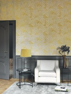 Papier peint Fougères jaune - LOUISE - Casadeco