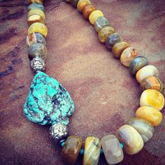 Agate and Turquoise Beaded Statement Necklace on Etsy,