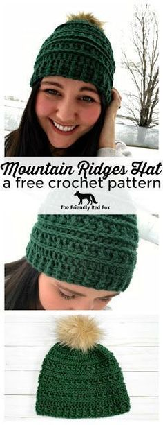 The Mountain Ridges Hat has a slight slouch and can be worked up in a day! This free crochet hat pattern is a one skein project that is classic and trendy and can be made for a child, teen, woman or man. Add a pom pom to the top for a fun extra! The PDF i