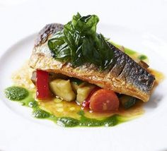 Pan-fried sea bass with ratatouille & basil