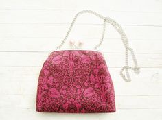Handbag kiss lock evening bag shoulder bag purse wallet clip frame pouch burgundy red pink brown leaves dots silver metal strap gift for her by poppyshome on Etsy