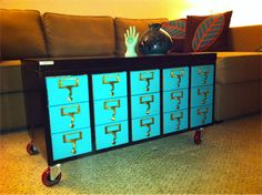 Card catalog coffee table.  10 Fun Uses for Old Card Catalogs   Mental Floss