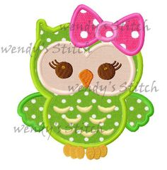 Big bow owl girl applique machine embroidery by WendysStitch