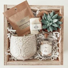 """***2-3 week processing time on this bundle*** This Is A Boho Inspired Gift Box Bundle Made For Any Occasion! The perfect boho inspired gift box for a get well, thinking of you, birthday, back-to-school, graduation, bridesmaid or housewarming gift. This Bundle Includes: (1) Green Theory Clay Mask (1) Natural Mini Gem Soap (1) 2"""" Mini Succulent (1) 100% Natural Soy Candle (1) Jar of Matches This bundle is perfectly packaged in our 8"""" x 8"""" wooden keepsake box wrapped with our off-white stripped ri Diy Gift Baskets, Christmas Gift Baskets, Christmas Gift Box, Homemade Christmas Gifts, Gift Hampers, Homemade Gifts, Cute Gifts, Diy Gifts, Holiday Gifts"""