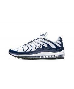 45f528bfd02 Nike Air Max 97 Plus Navy Metallic Silver Trainer