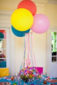 Centerpiece: Balloons, Ribbon + Flowers