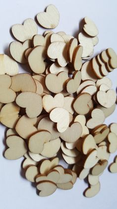 30 x Mini Wooden Shapes - 15mm - Heart